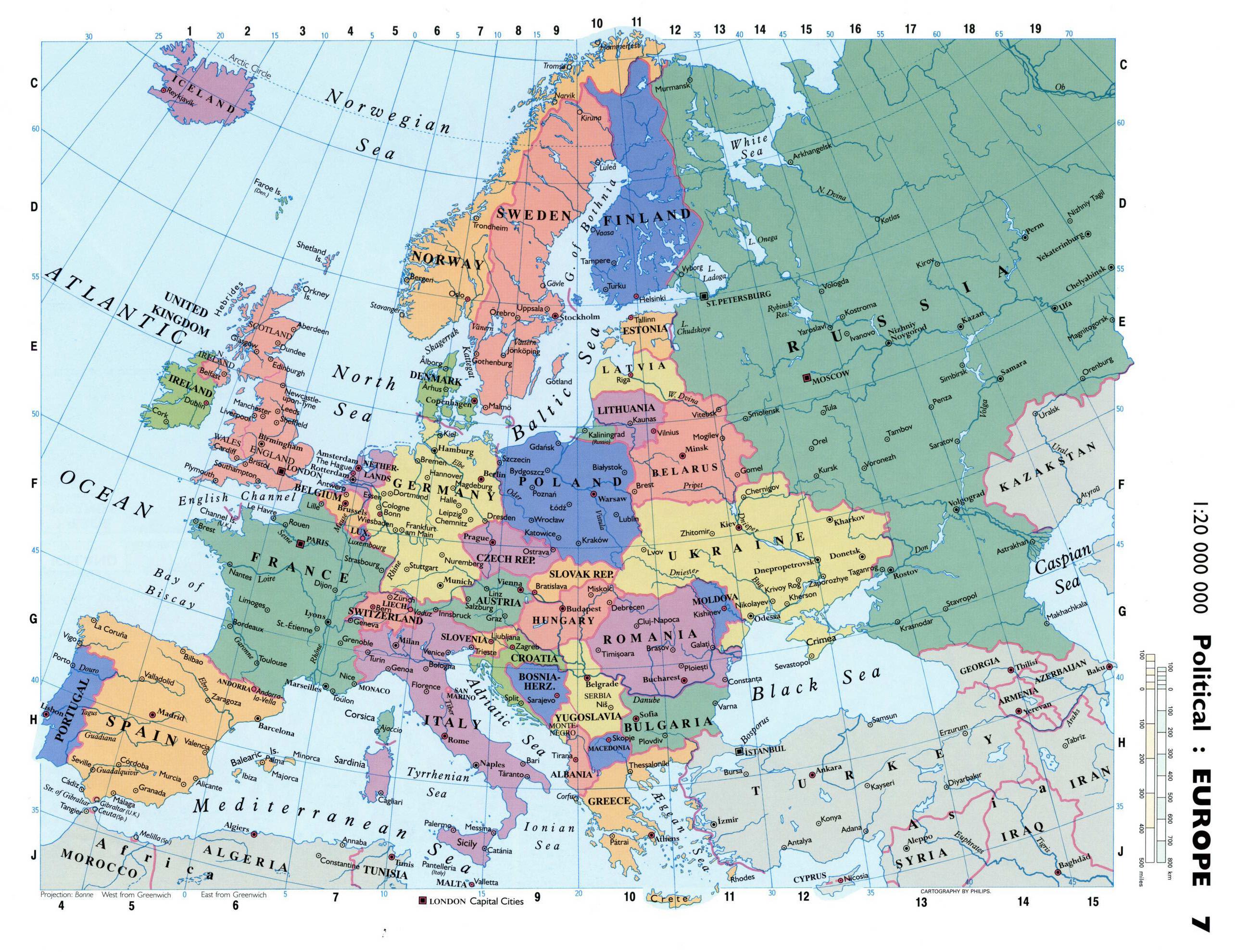 Karty Evropy Karta Evropy Na Russkom Yazyke Politicheskaya
