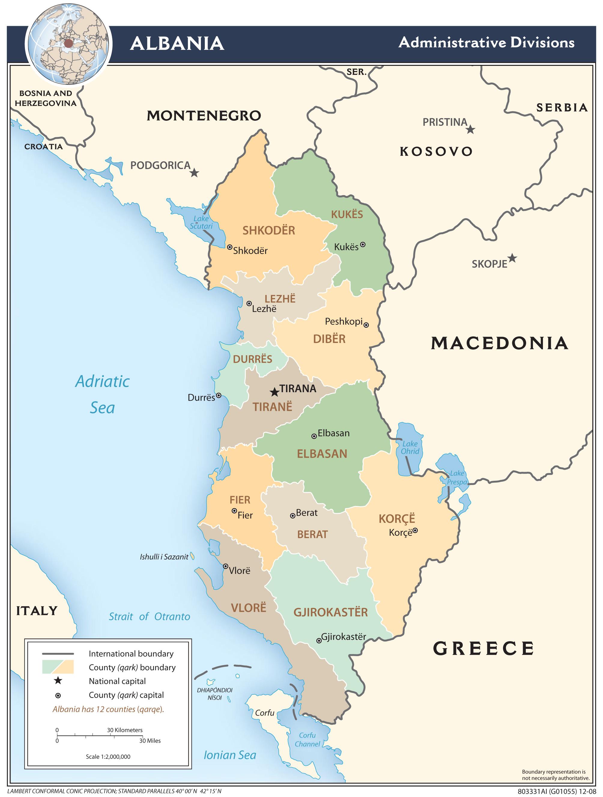 Karty Albanii Podrobnaya Karta Albanii Na Russkom Yazyke