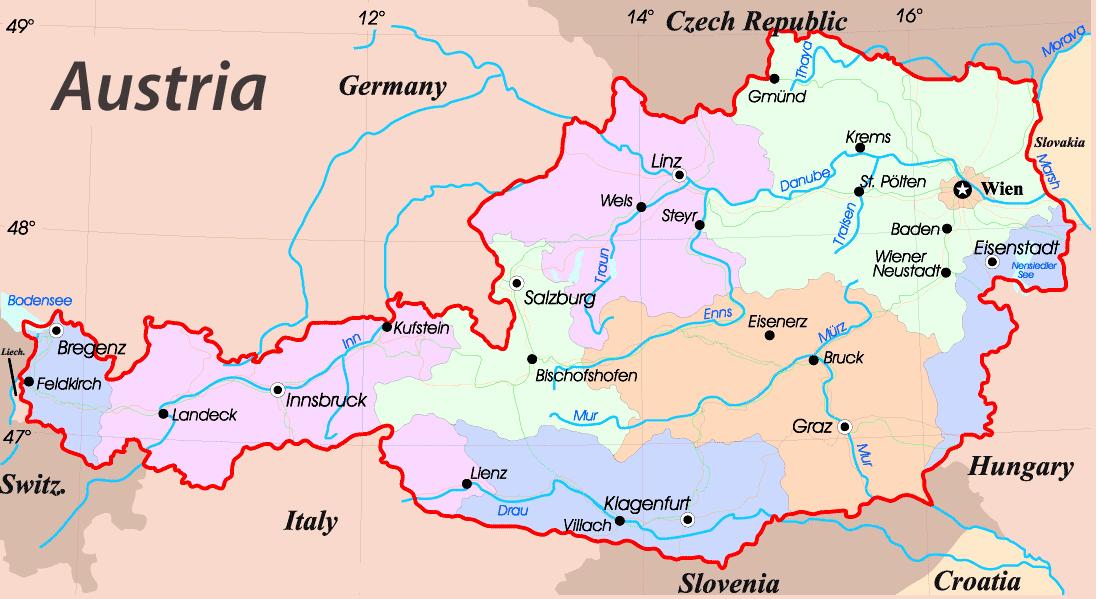 Karty Avstrii Podrobnaya Karta Avstrii Na Russkom Yazyke