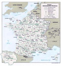 Административная карта Франции.