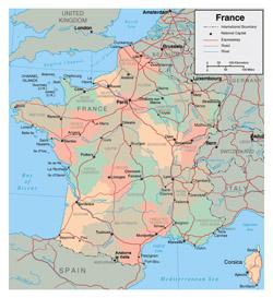 Подробная административная карта Франции.