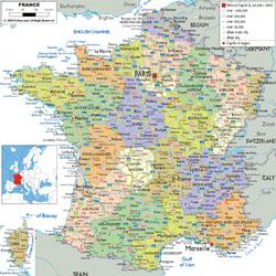 Подробная политическая и административная карта Франции с дорогами, городами и аэропортами.