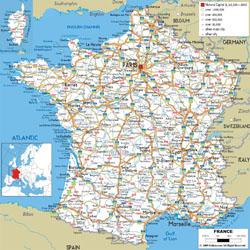 Подробная карта автомобильных дорог Франции с городами и аэропортами.