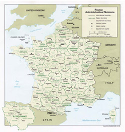 Карта административного устройства Франции.