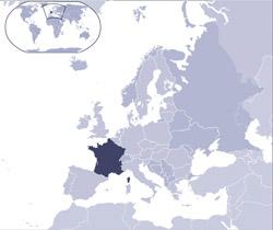 Карта месторасположения Франции.