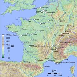 Физическая карта Франции.
