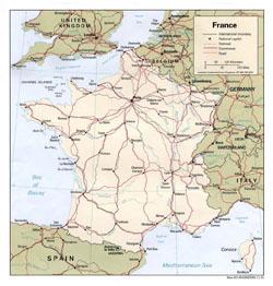 Политическая карта Франции.
