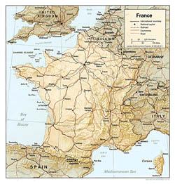 Политическая карта Франции с рельефом.