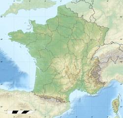 Карта рельефа Франции.