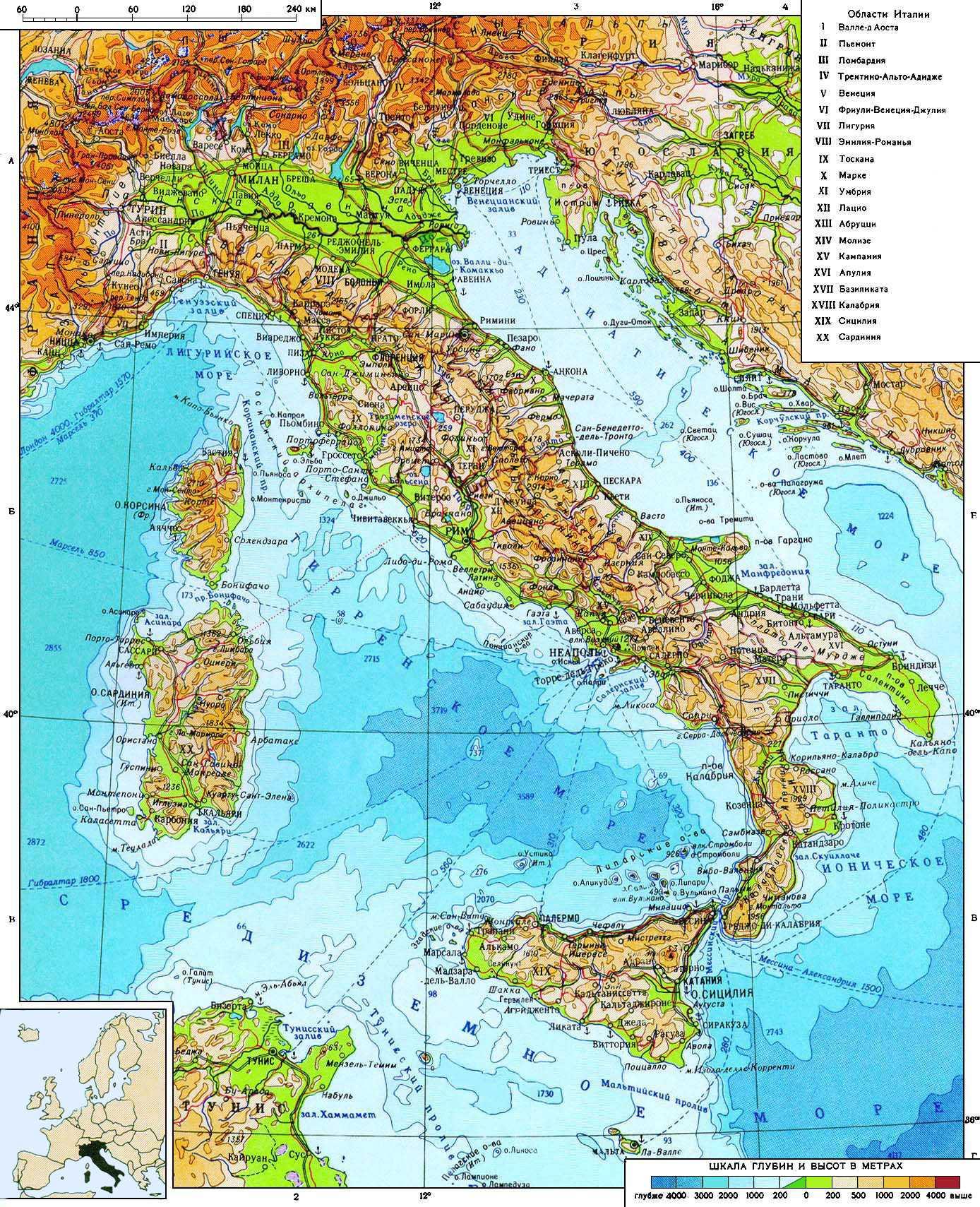 Karty Italii Podrobnaya Karta Italii Na Russkom Yazyke