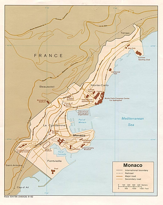 Karty Monako Podrobnaya Karta Monako Na Russkom Yazyke