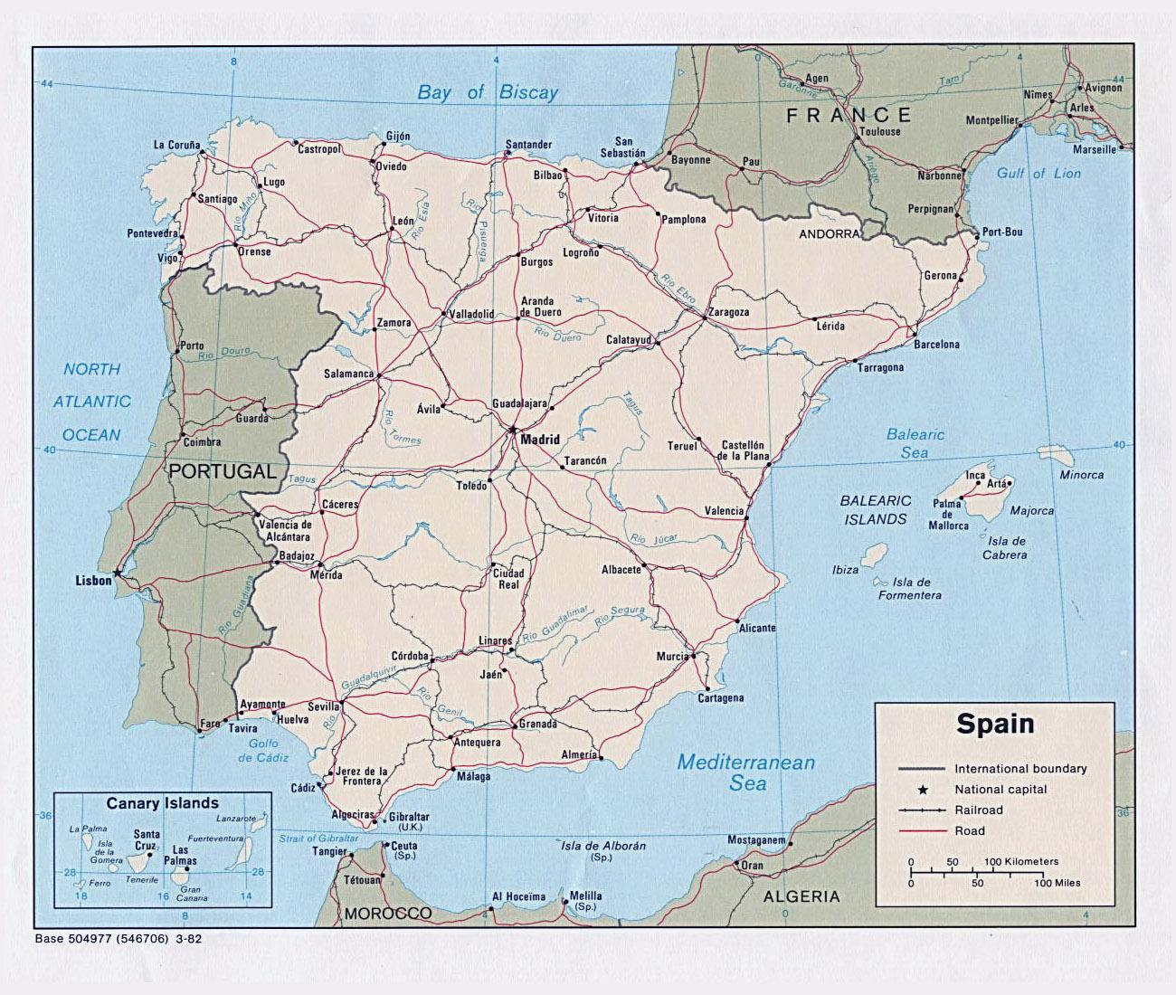 Karty Ispanii Podrobnaya Karta Ispanii Na Russkom Yazyke