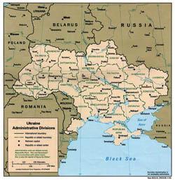 Административная карта Украины.