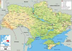 Подробная физическая карта Украины со всеми городами, дорогами и аэропортами.