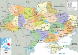 Подробная политическая и административная карта Украины со всеми городами, дорогами и аэропортами.