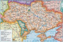 Подробная политическая карта Украины и Молдовы.