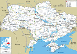 Подробная карта автомобильных дорог Украины со всеми городами и аэропортами.