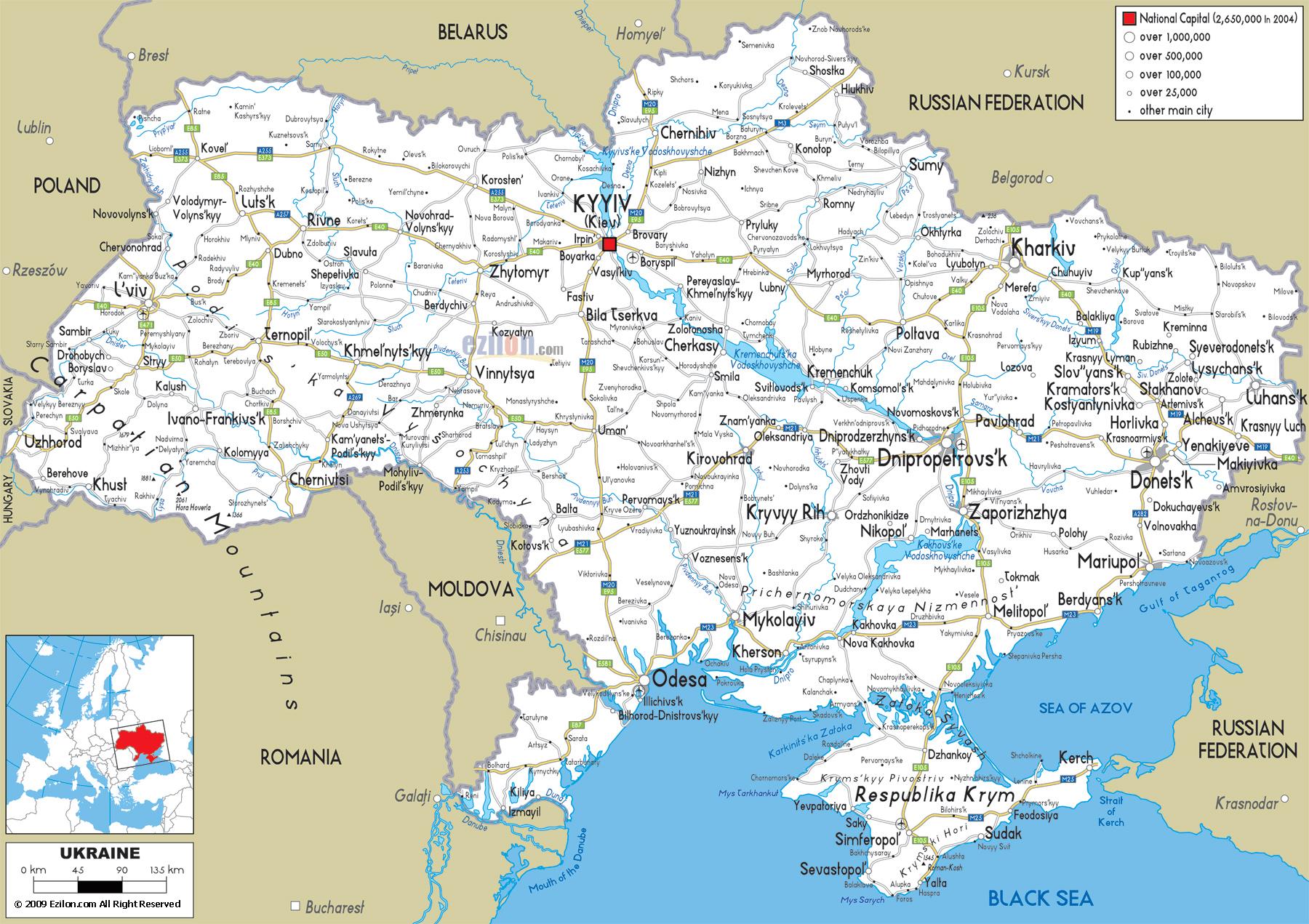 Подробная карта украины с городами и селами