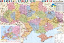 Большая политическая и административная карта Украины со всеми дорогами, автомагистралями, городами, поселками и аэропортами на украинском языке.
