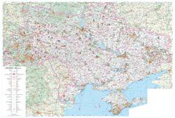 Большая автодорожная и туристическая карта Украины на украинском языке.