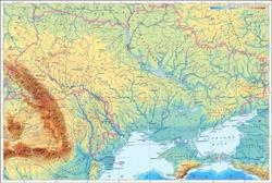 Физическая карта Украины.