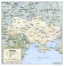Политическая карта Украины с рельефом, дорогами и городами.