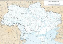 Карта рек Украины на украинском языке.