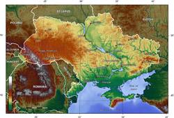 Топографическая карта Украины.