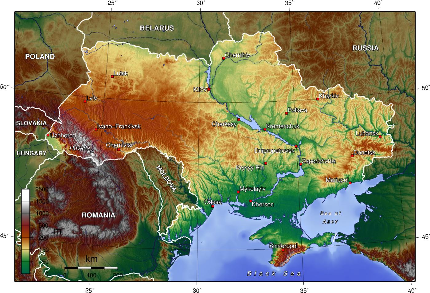 Топографическая карта украины